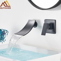 Quyanre Preto Chrome Cachoeira Bacia Torneiras de Parede Monte Cachoeira Torneira Única Misturador Misturador Banheiro Banheiro Faucet T200710