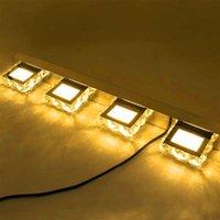 뜨거운 판매 12W 4 조명 크리스탈 표면 욕실 침실 램프 따뜻한 흰색 빛 실버 아트 장식 조명 현대 방수 벽 램프