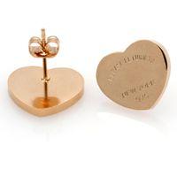 Venda quente nova moda ouro prata rosa ouro marca mulheres inoxidável por favor retorne ao coração encantos garanhão brinco