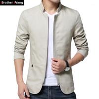 Brother Wang 2017 Новая белая куртка мужская мода модный воротник тонкий повседневная куртка хлопок мыть мужчин сплошные цветные пальто 4xL 5xL1