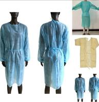 Vestido de protección no tejida 3 colores Unisex Disposible Disposible Delantales Protector de polvo Vestido protector Cocina Delantales Delantales Sea Envío