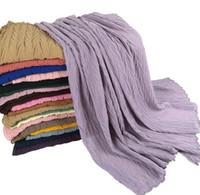 Chiffon Schal Mode Massivfarbe Plated Halstuch Frauen Rüsche Schal Strand Kopfschals Stola Bandana Headscarf YL242
