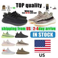 Envio de US 2021 Kanye West Mens Mulheres Correndo Tênis Cinder Zebra Cauda Luz Reflexiva Mulheres Esporte Sneakers Tamanho 36-48 com metade e
