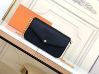 세련된 Pochette Felicie 여성 미니 어깨 가방 3 조각 꽃 인쇄 크로스 바디 가방 봉투 체인 지갑 지갑 회색 크림 파우치