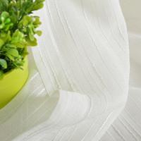 흰색 줄무늬 수 놓은 깎아 지른 커튼 거실 가짜 린넨 Voile 프랑스어 창 처리 자연광 흐름