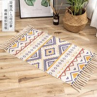 Carpets National Style Bedroom Rug Bathroom Kitchen Indoor Floor Area Cotton And Linen Geometric Pattern Carpet For Home Living Room
