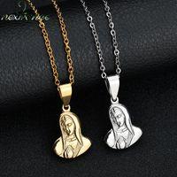 Nextvance Qualité Vierge Inox Vierge Marie Jésus Christ Collier Ave Maria Sainte Mère Amulette Christian pour Thanksgiving