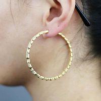 슈퍼 대형 라운드 후프 귀걸이 골드 컬러 도금 여성 레이디 패션 CZ 포장 50mm 결혼식 귀걸이 쥬얼리 대량 주문