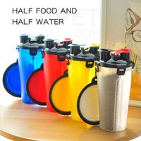 Embotellas portátiles Doble Dual Bowls Botella de hidratación cámaras con mascotas plegables Mascotas al aire libre Agua Alimento de agua M2