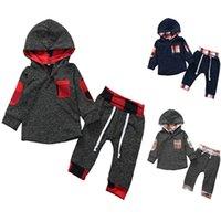 Niños bebé niños chándals traje de dos piezas mangas largas oufits patchwork plaid hoodie tshirt blusa y pantalones deportes traje ropa E121604