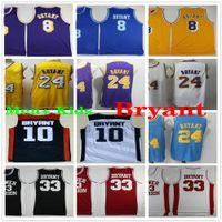 NCAA Mens + Kinder niedrigerer Mersion 24 Bryant Basketball Jersey Vintage Hemd 8 33 Bryant 10 Traumteam College Jerseys lila gelb schwarz weiß