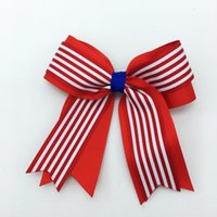 Accesorios para el cabello 10 PC 4 pulgadas 4 de julio Clips de brillo para chicas Bandera Cheer Bows1