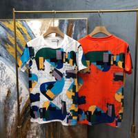 Mode heiße Sommer Frühling Europa Paris geometrische mehrfarbige Linien von Royal Horse Cotton T-Shirt Männer Tee Frauen Straße Casual Tshirt