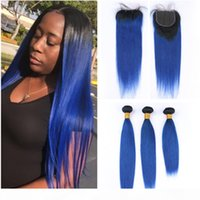 # 1b Blue Omre Straight Brasilian Human Hair Weave Bundles con cierre de encaje 4x4 Negro a azul oscuro Ombre Virgin Virgin Hairs con cierre