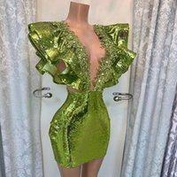 Green pailletted Abiti da ballo Brevi in rilievo Deep Deep Neck Duabi Party Night Dresses Delle Donne Donne Custom Made Progettato Robe de Soiree