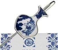 Bookmark de porcelana azul y blanca, Metal de viento chino, marcador creativo clásico, profesor de regalo, regalo de clase de clase Jllgwy Insyard