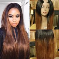 """Long Brown Ombre Ombre Parrucche per capelli umani Silky Dritto Malese Remy Glueless U Particolatori Particolari Medio destra sinistra CIPARTA 1 """"X4"""" Due tono colore"""