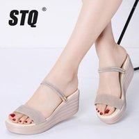 Сандалии STQ 2021 Женские кожаные замшевые клинья толстые пятки плоские гладиаторные дамы высокая платформа для 5551