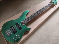 Spedizione gratuita PR 5 stringhe chitarra basso elettrico, corpo verde metallico, collo in acero impostato nel corpo, hardware cromato, tacchino singolo, rs basso