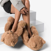 Donne Teddy Bear Pelle Pantofole Fumetto Carino Bear House Slipper Inverno caldo Furry Furx Fur Slifts Donna Furry Flip Flop Shoes F1224