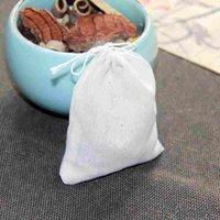 Hight 품질 휴대용 100pc 8x10cm 코튼 모슬린 재사용 가능한 Drawstring 가방 포장 목욕 비누 허브 필터 티백 EEF3621