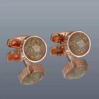 Yüksek Kaliteli Moda Stil erkek Kol Düğmeleri Işık Lüks Kakma Renk Kristal Yuvarlak Metal Gömlek Kol Düğmesi Hediye