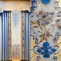새로운 중국어 푸른 고품질 셔닐 레이저 패치 수 놓은 커튼 패브릭 거실 침실 커튼 완제품