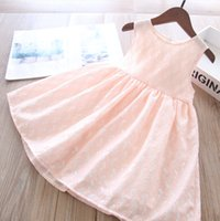 여자 레이스 중공 수 놓은 드레스 2021 여름 새로운 어린이 꽃 조끼 공주 드레스 아이 의류 A5791