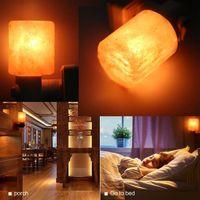 Изысканный цилиндр натуральный утес соли Гималайя соляная лампа очиститель воздуха с деревянной основой янтарных ночных огней