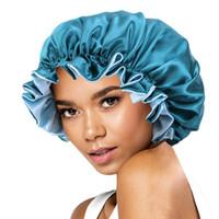 جديد الحرير ليلة قبعة قبعة مزدوجة الجانب ارتداء النساء رئيس غطاء النوم كاب الساتان بونيه للشعر الجميل WQ261