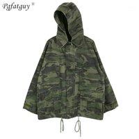 Frauen Camouflage Green Denim Jacken abnehmbar Mit Kapuze Langarm Reißverschluss Bomberjacken Herbst Mäntel Weibliche Biker Outwear Tops1