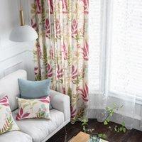 Rzcortinas semi blackout шторы для спальни хлопчатобумажные льняные окна занавес гостиной американские драпировки с листьями напечатанные жалюзи