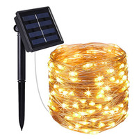 Su geçirmez IP65 Dize Işıkları Açık 100 LED 10 M 33ft Güneş Peri Işık Parti Noel Ev Bahçe Dekorasyon