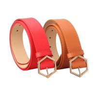 Luxury-New Trend Trend Esagonal Fibbia in pelle Ladies Belt Belt Moda Coreana Versione della Girl Wild Girl Abbigliamento Cintura decorativa