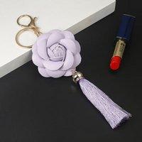 Новое Прибытие Camellia Кожаный Цветок с Кисточкой Цепочка Key Goldow Мода Ключ Кольцо Женская Сумка Подвесной Автомобиль Keychain EH888 H BBYFMT