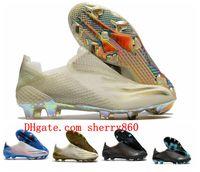2020 최고 품질 남성 축구 신발 X 고스트 FG AG 축구 클리트 축구 부츠 블랙 블루 스카프 Calcio