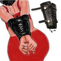 Pelle fetish Leather Doppio braccio Restraint Sleeve Binding Fetish Cosplay Slave Sex Toy Toy for Couple