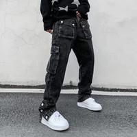 Yüksek Sokak Çok Cep Yıkanmış Denim Pantolon Erkek Ayak Bileği Düğmesi Erkekler Için Retro Düz Kot Büyük Boy Hip Hop Baggt Pantolon