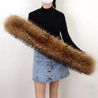 100%ナチュラルアライグマ/フォックススカーフ本物大毛皮スカーフ女性冬暖かい女性ネックキャップビッグサイズカラーY201007