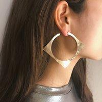 옷 입는 스타일 귀걸이 2,020 펑크 기하학적 중공 스퀘어 스터드 귀걸이 문 과장 큰 원형 귀걸이 여성의 보석