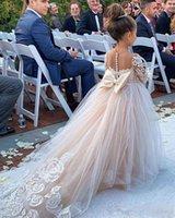 Nieuwe witte gezwollen kant bloem meisje jurk voor bruiloften lange mouwen baljurk meisje party communie pageant jurk vestidos