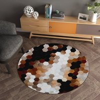 Carpets Nordic Geometric Living Room Bedside Decor Floor Area Rug Children Play Mat Home Flannel Non-slip Round Chair