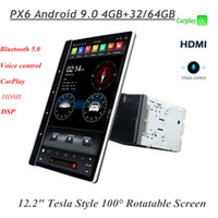 "4 GB + 64 GB IPS 100 ° drehbar Tesla Stil Vertikaler Bildschirm 2 DIN 12.2 ""PX6 Android 9.0 Universal Auto DVD-Player Auto DSP Radio GPS Bluetooth 5.0 WiFi"