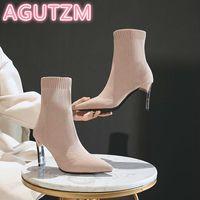 2020 Aphixta Metall Blade Heels Socken Stiefel Frauen Stretch Stoff Elastische Stilettos Ferse Spitze Zehe Knöchelstiefel Schuhe Frau Boote
