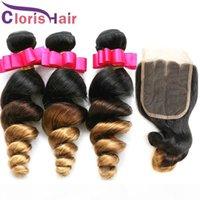 1b 4 27 Extensões ombre Pacotes de cabelo humano indiano cru com fecho de renda solto onda encaracolado raízes escuras 3 tons loira Virgem Tece Fechamento