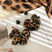 Gota de tela de leopardo de la moda de Fyuan para las mujeres Bohemia de gran tamaño Declaración Declaración Pendientes Partido Regalos de joyería