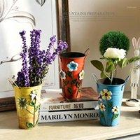 Sıcak Satış Vintage Galvanizli Metal Demir Çiçek Shabby Vazo Pot Varil Ekici Bahçe Dekor Makaleleri J1