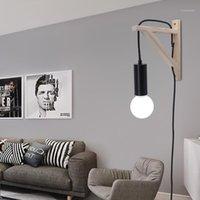 Настенный светильник ArtPad Ins Strest Wood Tripod Sconce со штекером в современном светильнике Nordic для тумбочка для тумбочка крытая подвесная лампа1