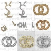 Nuevo diseñador broche cristal diamante lujo broche pines aleación broche ropa mujeres broches moda joyería mejor calidad