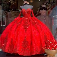 Sparkly Red Lantejoulas Sweet 16 Ball Vestido Quinceañera Vestidos Frisados Lantejoulas Manga Comprida Lace-Up Corset Vestido de 15 Anos Quinceanera 2021